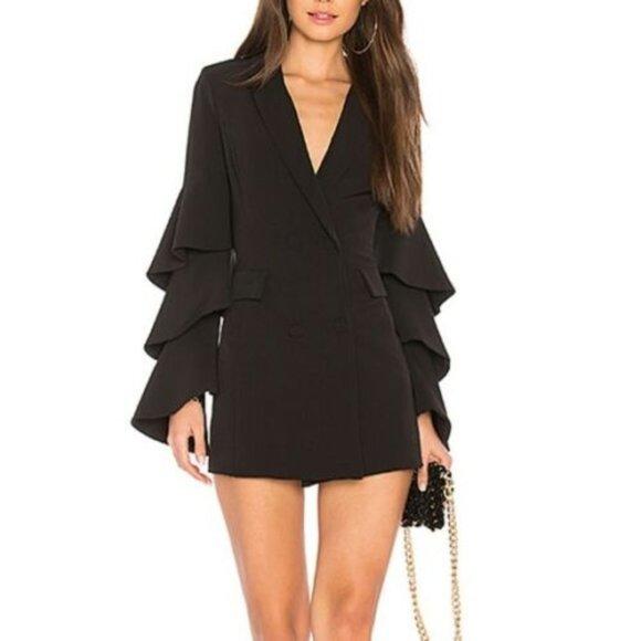 NBD Black Ruffled Sleeve Blazer Dress NWT Women's